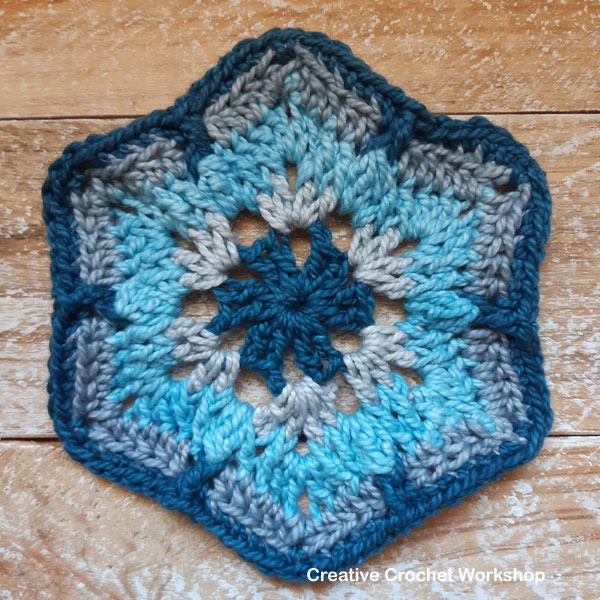 Neelu Hexagon - Free Crochet Pattern | Creative Crochet Workshop #freecrochetpattern #crochet #crochetalong #hexagon @creativecrochetworkshop