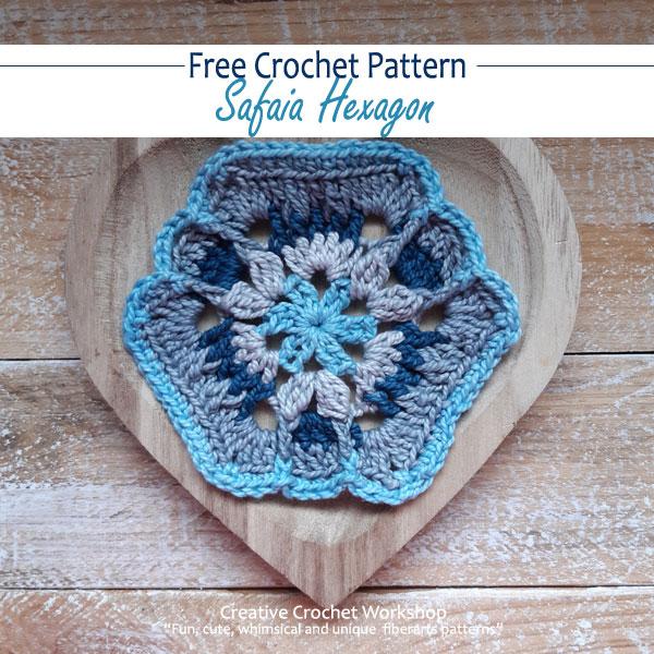 Safaia Hexagon - Free Crochet Pattern | Creative Crochet Workshop #freecrochetpattern #crochet #crochetalong #hexagon @creativecrochetworkshop