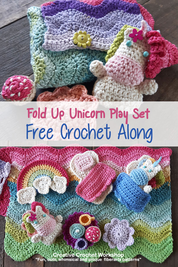 Fold Up Unicorn Crochet Play Sets | Free Crochet Along | Creative Crochet Workshop #crochet #crochetalong #crochetplay #crochetplayset #crochettoy #crochetunicorn