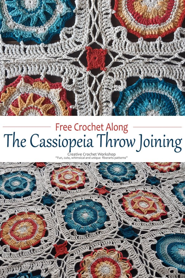 Cassiopeia Crochet Throw Joining - Free Crochet Pattern | Creative Crochet Workshop @creativecrochetworkshop #freecrochetpattern #grannysquare #afghansquare #crochetalong #ccwcassiopeiathrow