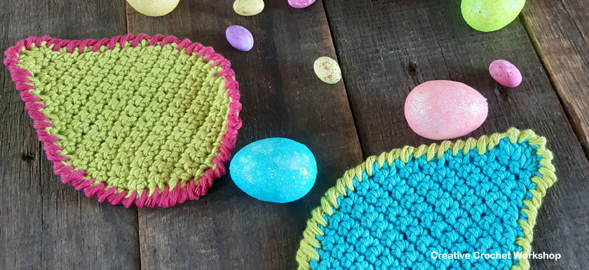 Cute Crochet Egg Coasters - Free Crochet Pattern | Creative Crochet Workshop #freecrochetpattern #crochet #crochetcoaster #eastercrochet @creativecrochetworkshop