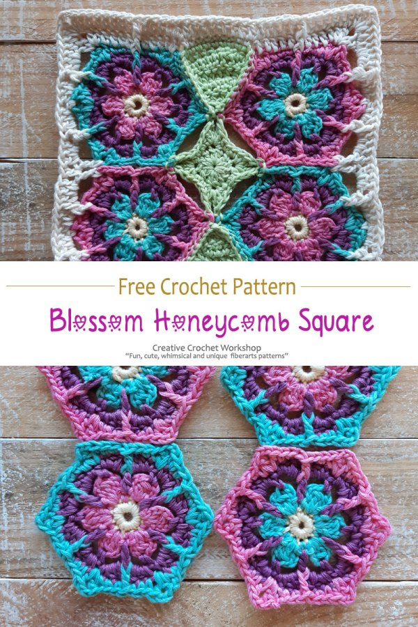 Blossom Honeycomb Crochet Square - Free Crochet Pattern | Creative Crochet Workshop #crochetsquare #afghanblock #afghansquare #freecrochetalong #crochet #crochetblanket #stashbuster @creativecrochetworkshop