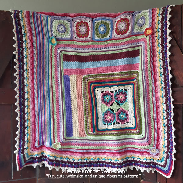Scrapstasy Bohemian Crochet Blanket - Free Crochet Pattern | Creative Crochet Workshop #crochetsquare #afghanblock #afghansquare #freecrochetalong #crochet #crochetblanket #stashbuster @creativecrochetworkshop
