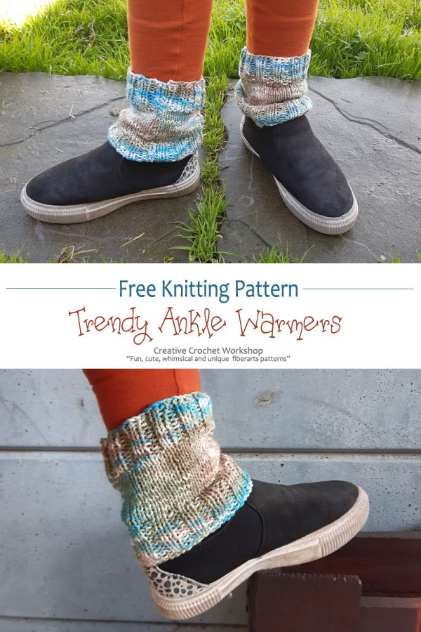 Knitted Trendy Ankle Warmers - Free Knit Pattern | Creative Crochet Workshop #freeknitpattern #knit #knitaccessory #knitted @creativecrochetworkshop