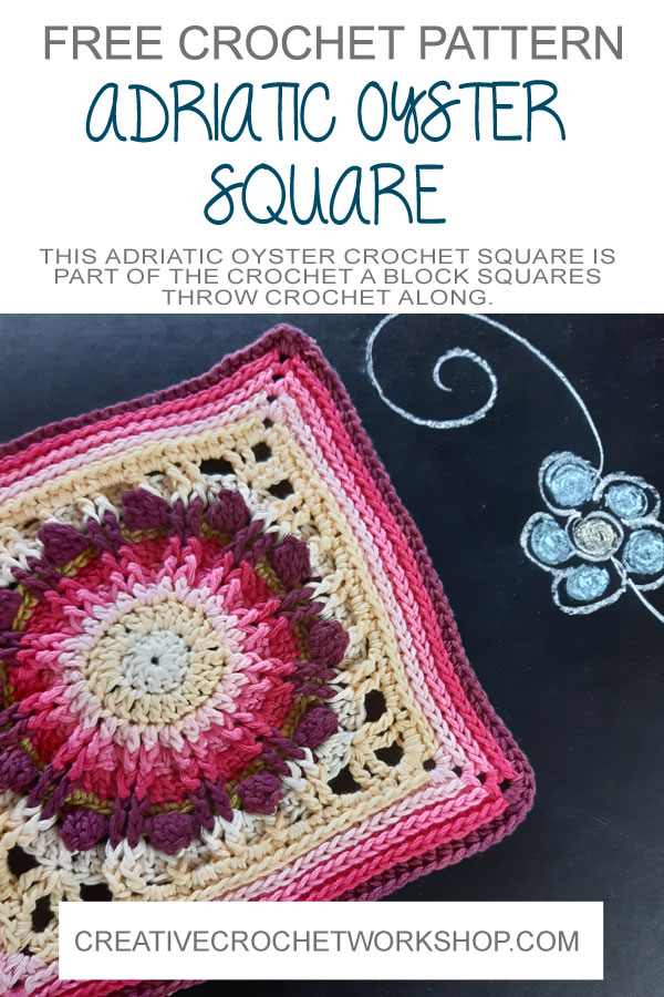 Adriatic Oyster Crochet Square - Crochet A Block 2021 | Creative Crochet Workshop @creativecrochetworkshop #crochetsquare #freecrochetalong #crochetblanket #crochetthrow #ccwcrochetablock2021