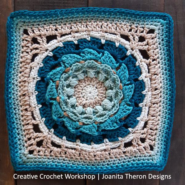 Ezilli Flower Crochet Square - Crochet A Block 2021 | Creative Crochet Workshop @creativecrochetworkshop #crochetsquare #freecrochetalong #crochetblanket #crochetthrow #ccwcrochetablock2021