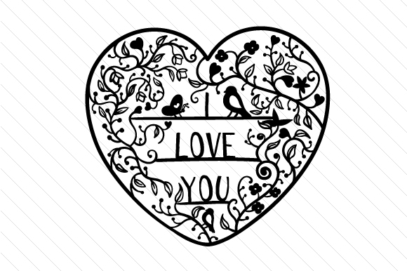 Download I Love You - Intricate Floral Cut (SVG Cut file) by ...