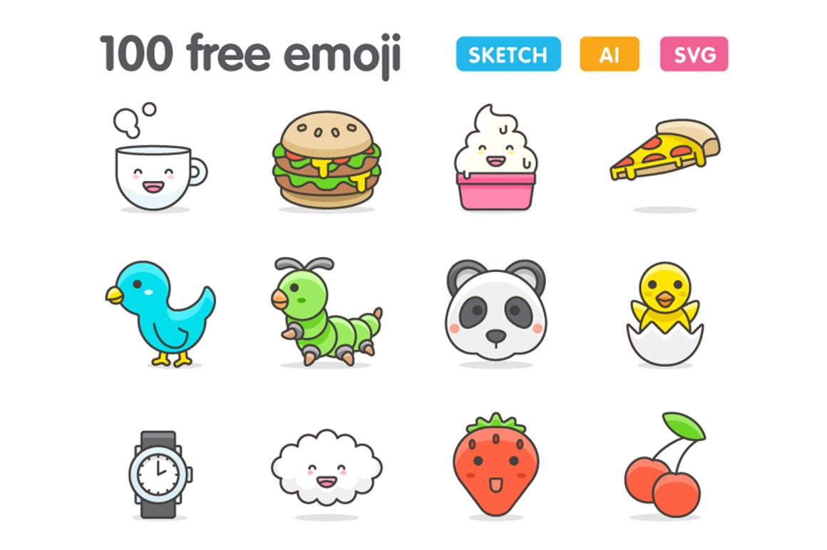 100 Cute Emojis Graphic by Creative Fabrica Freebies