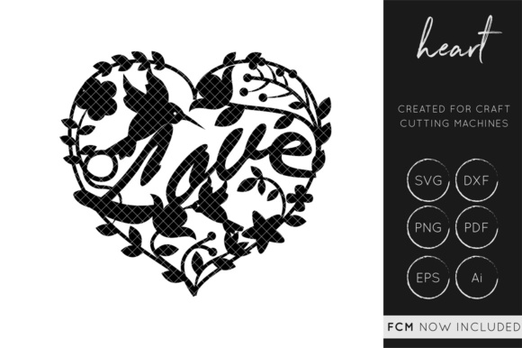 Download Love Birds Heart SVG Cut File / FCM / DXF / Vector Graphic ...