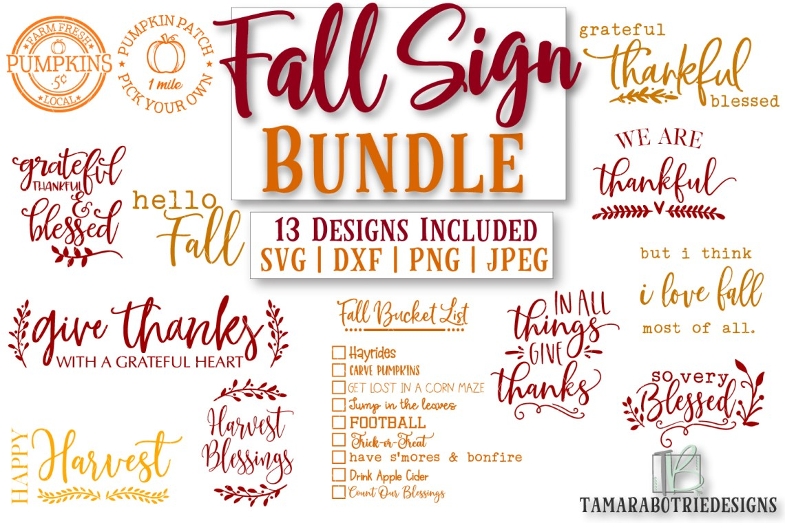 Download Fall Sign SVG Bundle, Autumn Cut File, Thanksgiving ...