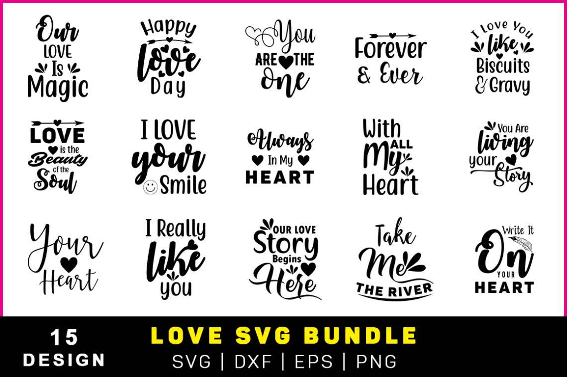 Download The Valentine Love Quote Pack (Graphic) by Handmade studio ...
