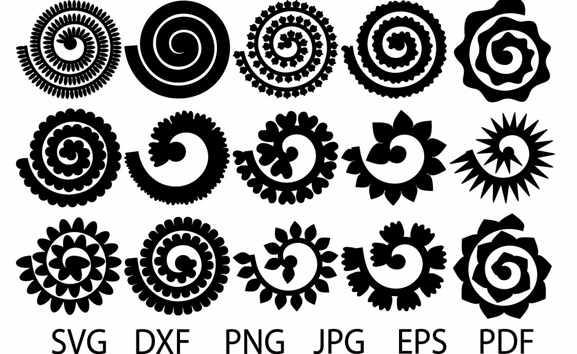 Rolled Flower Svg, Flowers Template, Rolled Paper Flowers ...