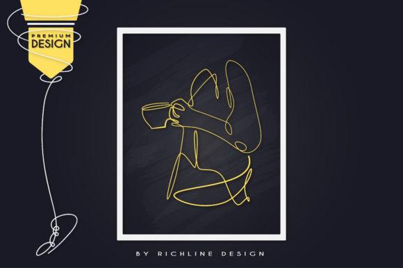 morning girl coffee cup line art poster grafik von richline design creative fabrica