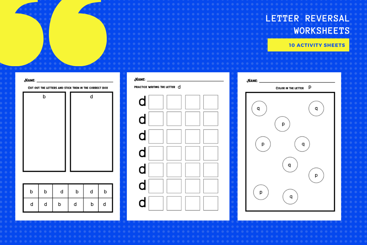 Letter Reversal Worksheets B D P Q Graphic By