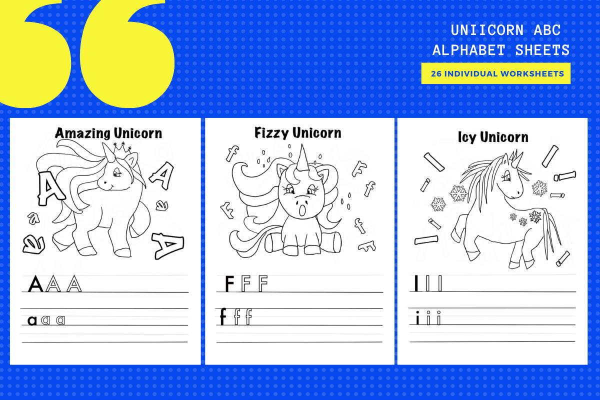 Unicorn Abc Alphabet Worksheets X 26 Graphic By
