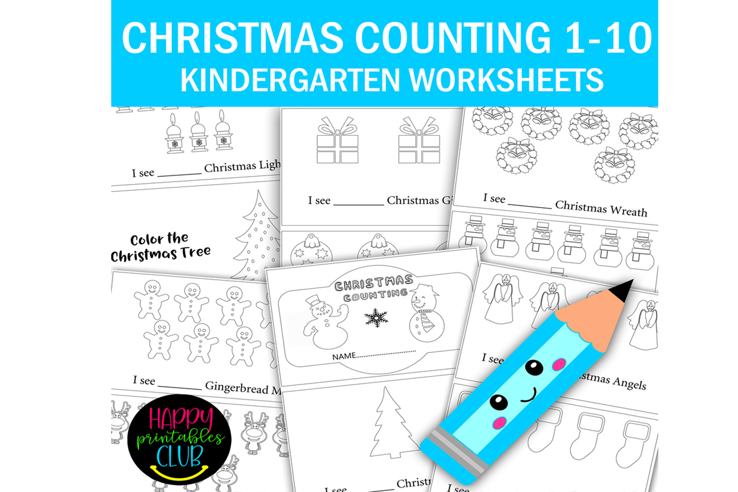 Christmas Counting 1 10 Kindergarten Graphic By Happy