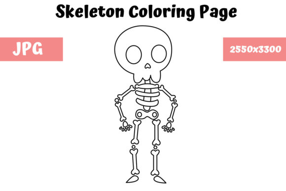 Coloring Page For Kids Skeleton Graphic By Mybeautifulfiles Creative Fabrica