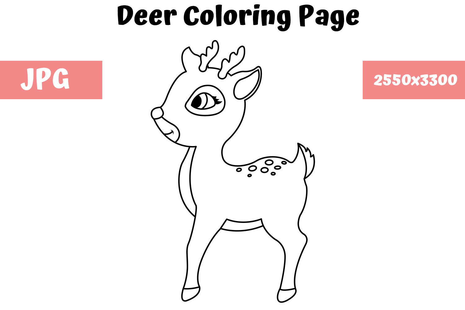 Deer Coloring Page For Kids Graphic By Mybeautifulfiles Creative Fabrica