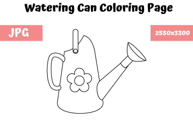 Watering can Coloring Page for Kids