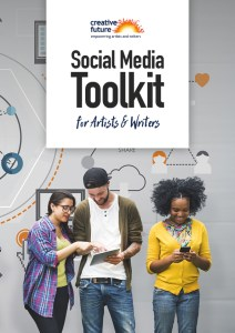 Social Media Toolkit. The cover of Creative Future's social media toolkit for artists and writers, showing three people accessing social media on their smart mobile phones,