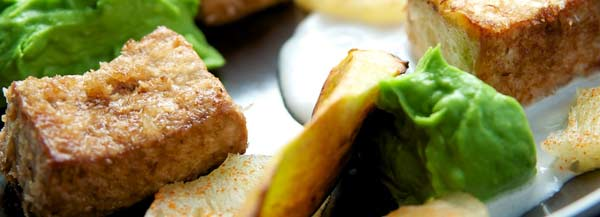 Tofu Medallions with Chili Dusted Pineapple, Avocado Cream and Browned Plantain