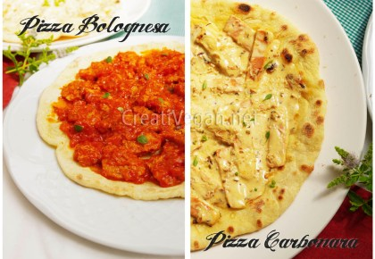 Pizza carbonara y pizza bolognesa (veganas)