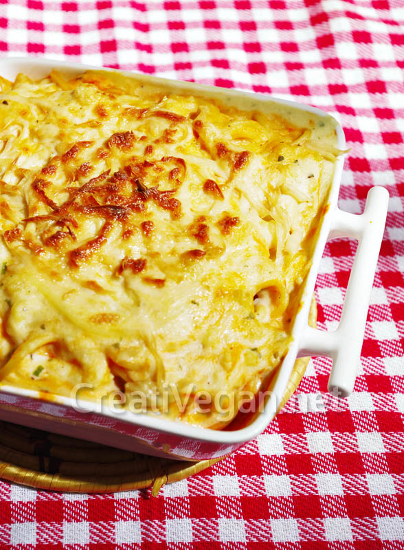 Pasta gratinada con queso vegano
