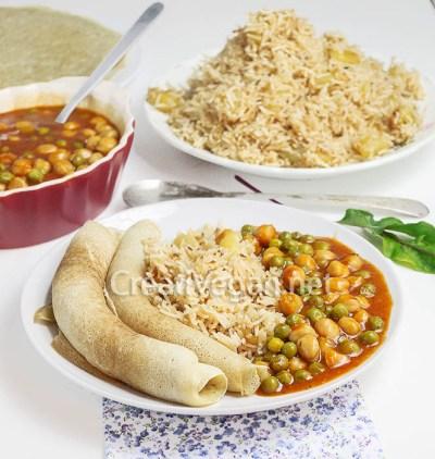 Ambabur con arroz y guiso de garbanzos