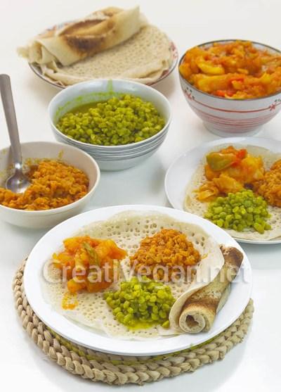 Injera de trigo con kik wot, alicha picante y atar alecha