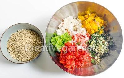 Ingredientes para lahmacun vegano