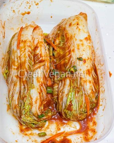 Kimchi preparado para fermentar
