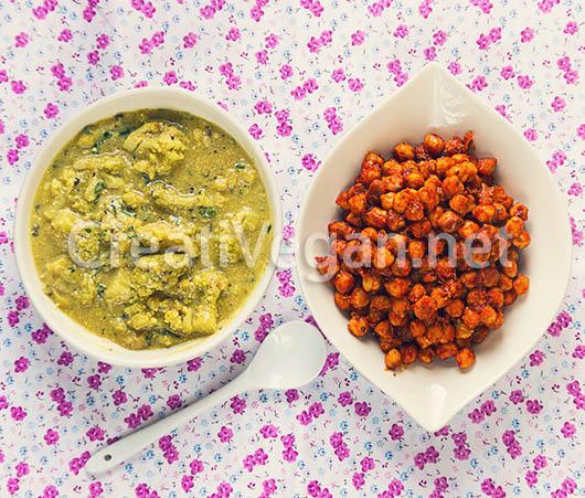 Romanescu con salsa de yogur y garbanzos al pimentón