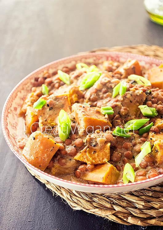 Curry de lentejas y calabaza - CreatiVegan.net