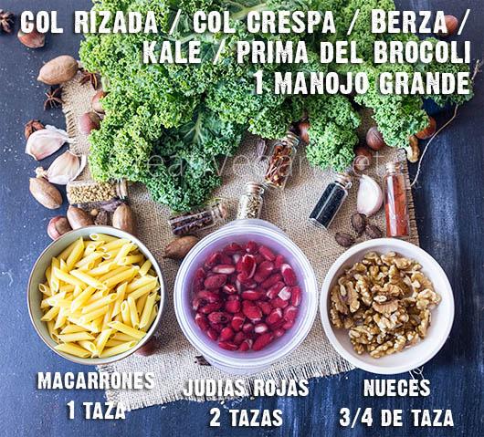 Ingredientes para hacer ensalada de col rizada con judías rojas, nueces y pasta - CreatiVegan.net