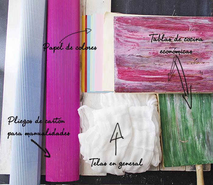Materiales para hacer fondos y mesas para foto - CreatiVegan