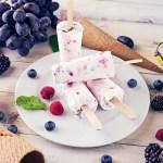 Polos cremosos de yogur con arándanos y frambuesas