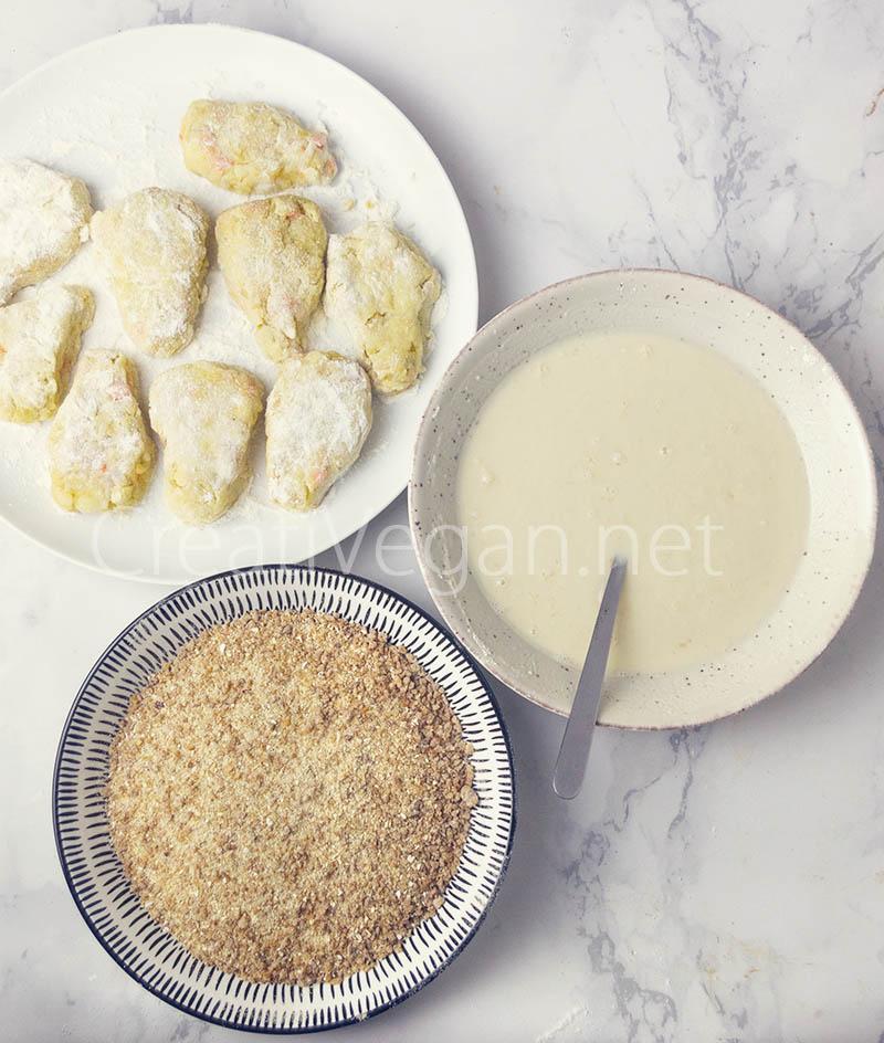 Preparación de los vegetable cutlets: rebozado y empanado