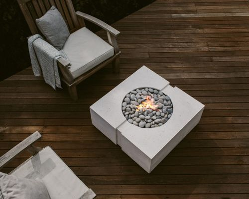 Bravo square fire bowl, with cavity channel adding character