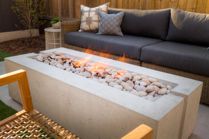 Avera fire bowl @ creative landscape depot. Minimalist linear design.