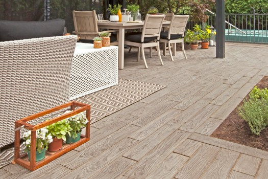Techo-Bloc Borealis paver has texture, is warm, and can offer some grab and slip protection.