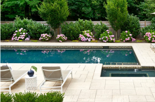 Pool patio, pool deck, softscaping, hot tub, all available @ Creative