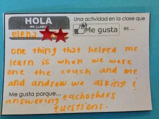 Spanish class feedback