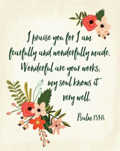 free scripture printable Psalm 139:14