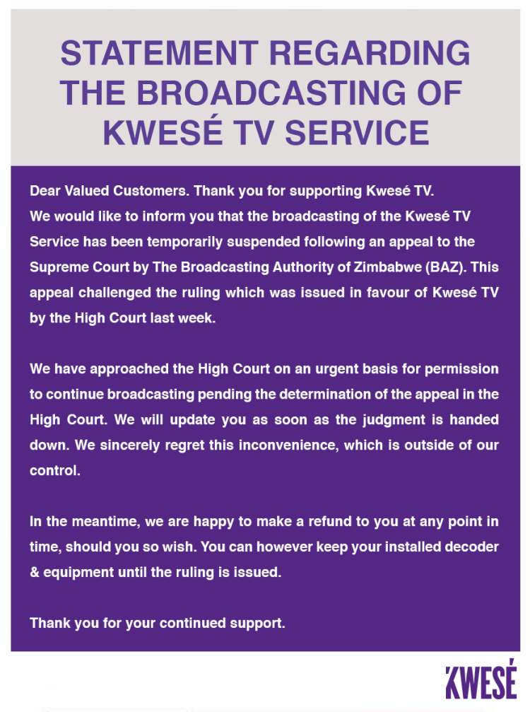 Kwese TV Zimbabwe suspended