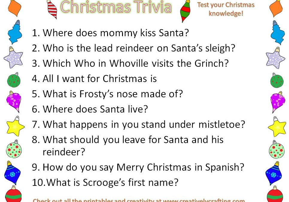 Christmas Trivia Printable - Creatively Crafting