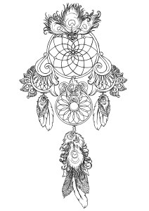 Dream catcher coloring page totally free