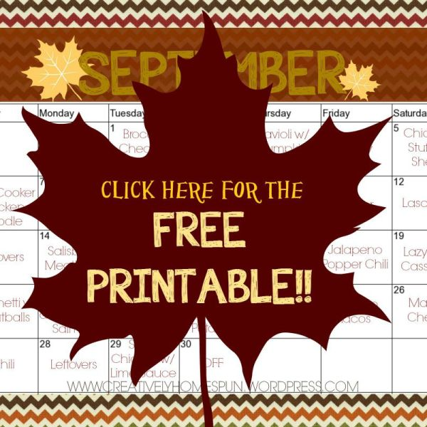 September Meal Plan! || FREE PRINTABLES ||