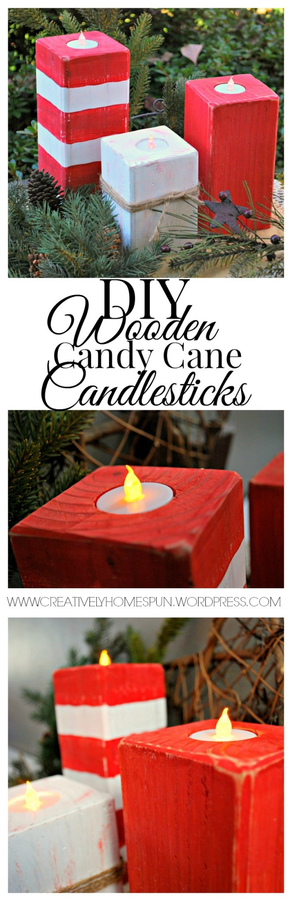 #HomeForChristmas Blog Hop!! Hosted by #hometalk and #countrylivingmagazine I'm showing off my DIY Wooden Candy Cane Candlesticks!