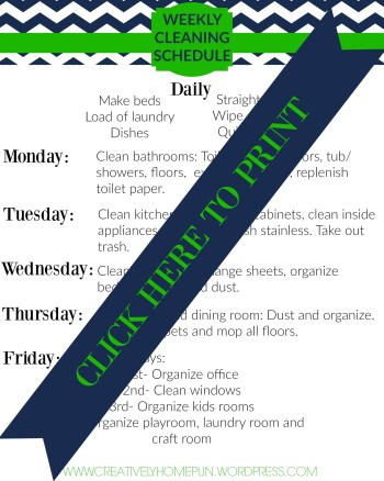 Weekly Cleaning Schedule FREE PRINTABLE! Great for keeping up with the house! #cleaning #housework #freeprintable #printable #graphicstock