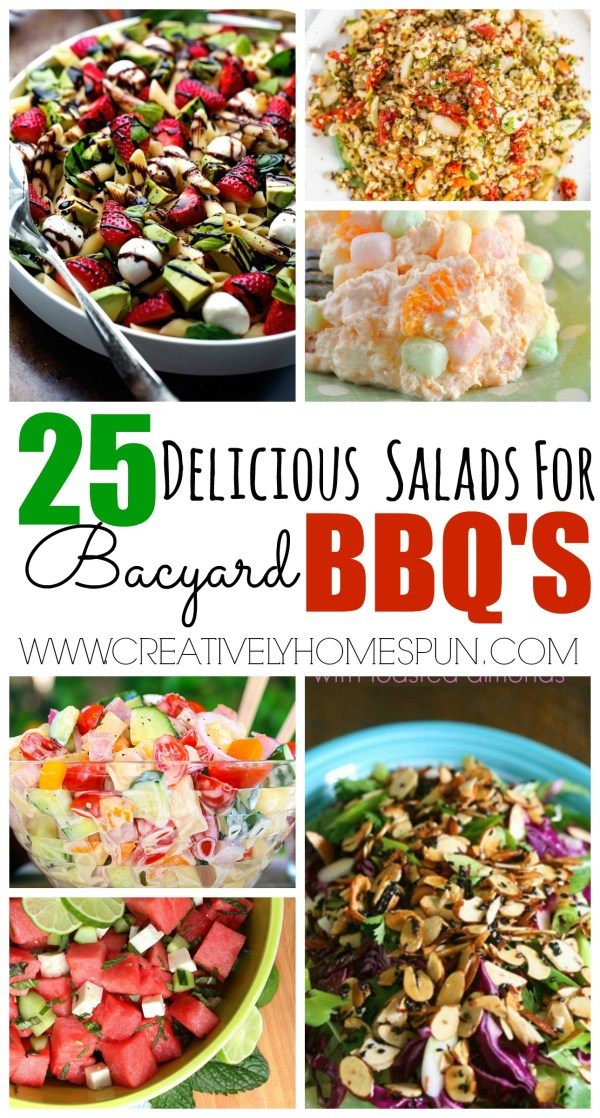 25 Delicious Salads for Backyard BBQ's! #salad #healthymeal #picnic #summerbbq #bbq #partyfood